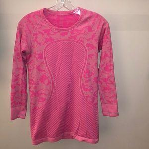 Lululemon pink 3/4 sleeve Run Swiftly, sz 6, 64180